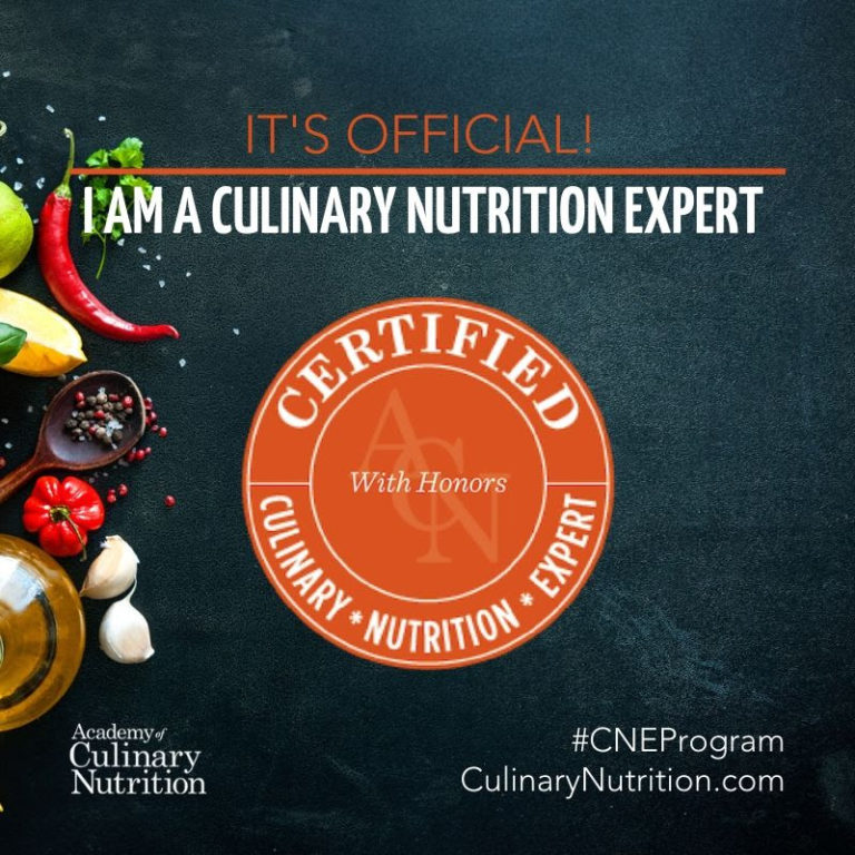 Certified Culinary Nutrition Expert graduated with honors